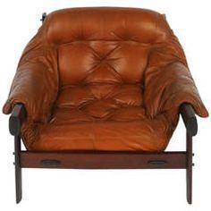 Percival Lafer Brazilian Lounge Chair in Carmel Brown Leather