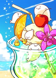Cute Seals, Chibi Food, Baby Seal, Cute Animal Drawings, My Spirit Animal, Cute Characters, Food Illustrations, Cute Guys, Kawaii Anime