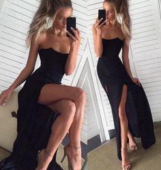 Chiffon Evening Dress,Sexy Prom Dress,Slit Prom Dresses F722