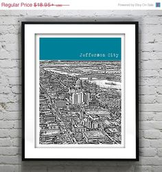 Jefferson City Missouri Poster Art Print City Skyline MO    SALE! 20% off all items! No coupon required. Pricing reflects current sale price of