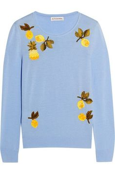 Altuzarra - Harding Embellished Merino Wool Sweater - Sky blue - x small