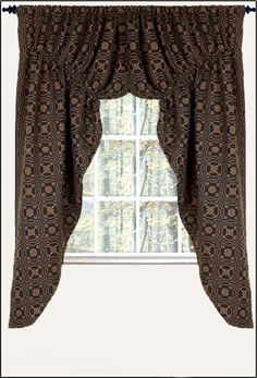 "New Primitive 57"" Black Mustard LOVERS KNOT COVERLET PRAIRIE CURTAIN Window Swag #Country"