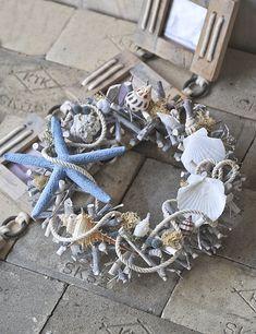 【楽天市場】サマーリース☆ボートハウスの夏★Decor de Maison de Bateau【ナチュラルドライフラワー】【シェル】【貝殻】【楽ギフ_包装】 【楽ギフ_のし宛書】 【楽ギフ_メッセ入力】:Coppe Craft Workshop