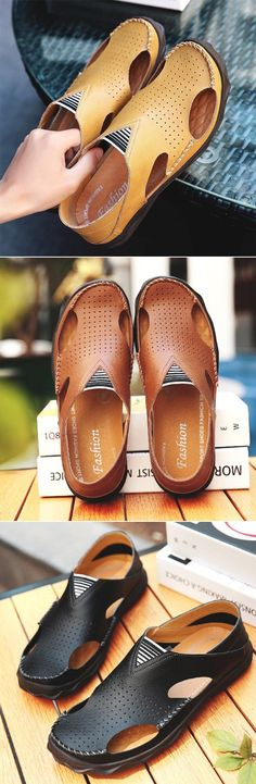 Men Stitching Hole Breathable Slip On Casual Outdoor Leather Sandals