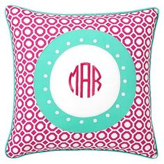 pink and teal monogrammed honeycomb pillow cover 18x18