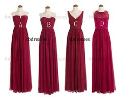custom made burgundy bridesmaid dresses.long bridesmaid dresses.cheap bridesmaid dresses.maid of honor dress.evening prom dress.formal dress