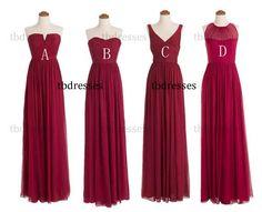 custom made burgundy bridesmaid dresses.long bridesmaid dresses.cheap bridesmaid dresses.maid of honor dress.evening prom dress.formal dress