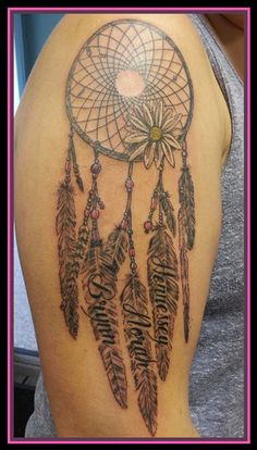 Dreamcatcher with feathers and children's names - Dolly's Skin Art Tattoo Kamloops BC