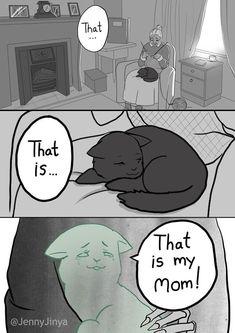 Heart-rending Viral Black Cat Comic Has A Beautiful Sequel - I Can Has Cheezburger? Beauty Heart-rending Viral Black Cat Comic Has A Beautiful Sequel Comics Story, Bd Comics, Funny Comics, Animal Memes, Funny Animals, Cute Animals, Black Cat Comics, Black Cats, White Kittens