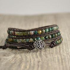 Rustic, earthy triple wrap bracelet. Boho shabby chic jewelry by SinonaDesign on Etsy