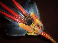 Smudge Fan- Visions through the Flame- Sacred Smudge Fan with Black Kyanite  Crystals. $42.42, via Etsy.
