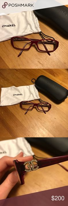Chanel 3107b Prescription Frames EUC red Chanel glasses.  One arm is bent a little as show in photos.  Should be able to be adjusted by optometrist when getting new lenses.  I don't know the prescription.  They were back up for contacts.  I didn't wear them often or a lot.  From LensCrafters.  No Swarovski crystals missing.  Great red color! Comes with dust bag/eye glass cleaner and case.  Will consider reasonable offers. CHANEL Accessories Glasses