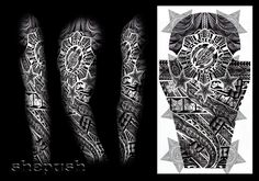 Custom design, 3/4 sleeve, bio mechanic on arm, polynesian inspired armband and sun on chest with japanese theme as background. mix of everything. Do not use in anyway!! Contact me if You want cust...