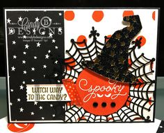 Fun and spooky Halloween card using products from the Stampin' Up! 2015 Holiday Catalog. Among the Branches, Haunt Ya Later and Howl-o-Ween stamp sets were used with coordinating Framelits and the new Happy Haunting Designer Series Paper. For more details, please see my blog post at http://cindycoutts.com/?p=15388. #stampinup #suo #stampinupholiday2015catalog #hauntyalater #howloween #amongthebranches #papercraftcrewchallenge #halloweencard #witchhat #spooky #papercrafting #cindycoutts