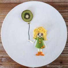 Food Art. Girl and her balloon.