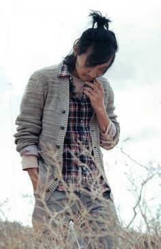 Kim Nam Gil and long hair and plaid and big sweater
