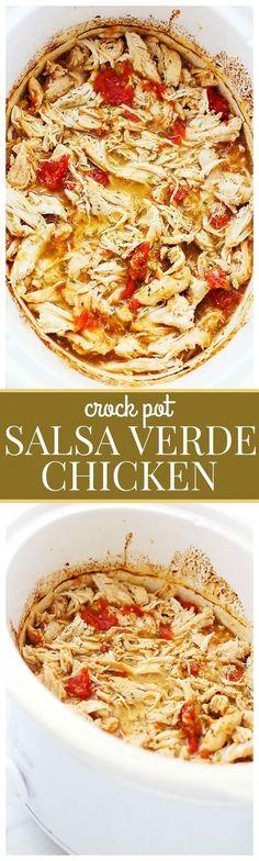 Easy Crock Pot Salsa Verde Chicken - Loaded with salsa verde and ...