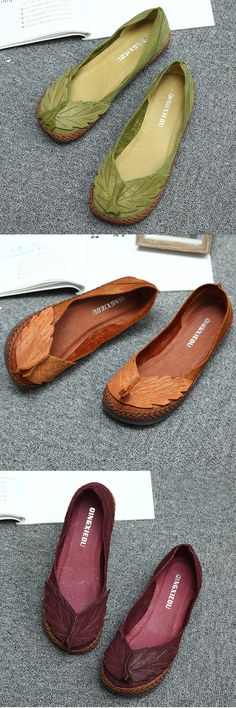 US$48.86 SOCOFY Leaf Genuine Leather Comfortable Soft Sole Retro Flat Loafers