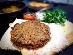 """""""Best thing to do with any left over dal - make into delicious crispy Paratha. Serve with lime pickle & yoghurt Lime Pickles, Salmon Burgers, Waiting, Curry, Lunch, Foods, Dishes, Drinks, Cooking"""
