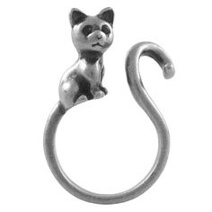 Cute Kitty Cat Adjustable Animal Wrap Ring Vintage Silver Tone Ellenviva http://www.amazon.com/dp/B00DW2P7Y2/ref=cm_sw_r_pi_dp_6DZaub11WHT5M