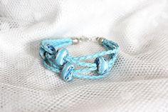 Light blue modular bracelet on strap. Modern and by EttarielArt