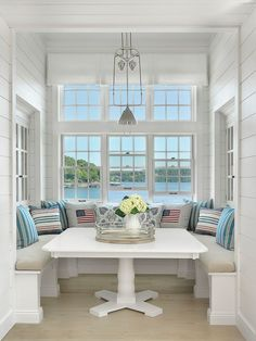Nautical Style Breakfast Nook Amy Studebaker Design - Click through for more coastal style room!