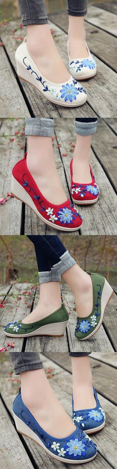【US$24.99】Women Handmade Floral Embroidered High Heels Cloth Wedges Shoes #chinesestyle #folkstyle #summershoes   #handmadeshoes #embroideredwedges #oldladyfashion