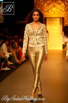 Vikram Phadnis metallic pants with designer jacket