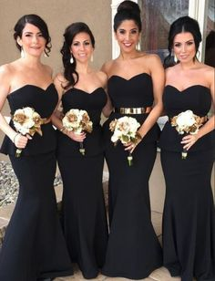 elegant sweetheart wedding party dresses, fashion formal gowns, simple black mermaid bridesmaid dresses.
