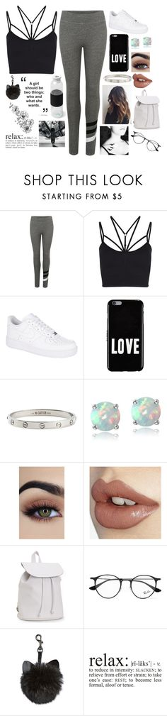 """Relax Baby🖤"" by willow-wonder ❤ liked on Polyvore featuring Sundry, Sweaty Betty, NIKE, Givenchy, Cartier, Glitzy Rocks, Aéropostale, Ray-Ban and WALL"