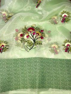 Pure organza silk saree, green saree, embroidery work saree, saree for women, designer saree, indian saree, saree blouse, saree    #women #clothing #etsy #wedding #saree #sari