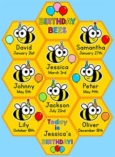 Celebrate your students' birthdays with this fun bees and honeycomb theme birthday board! It will look adorable on your classroom wall or bulletin board.