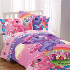 My Little Pony Pony Party Sheet Set $19.50.  I want this SO bad. But i don't have a twin bed.... :(