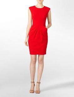 stitched pleat sheath dress - dresses- Calvin Klein
