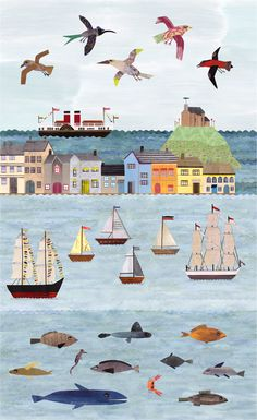 Lianne Harrison Ilfracombe Museum Mural of Ilfracombe Harbour Seaside Town Large Scale Collage www.lianneillustrates.etsy.com