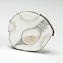 "Sarah Ockuly  ""Filling""  Enamels, graphite, copper, fine silver, sterling silver, stainless steel  Cloisonné"