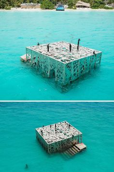 TheCoralariumis a 200-ton tidal building filled with sculptures, creating a partially submerged gallery in the Maldives.