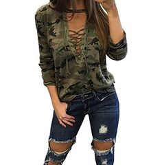 ABD Women's Autumn Long Sleeve Camouflage Print Lace Up Blouse T-Shirt Tops