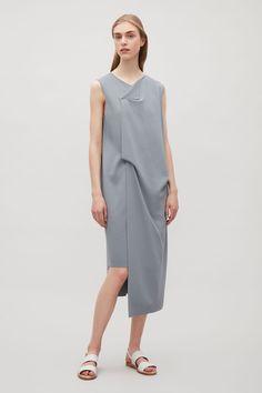 COS image 1 of Draped knit dress in Slate Blue Crochet Dress Outfits, Knit Dress, Modest Fashion, Fashion Outfits, Cos Fashion, Business Dress, Minimal Dress, Yeezy Fashion, Apron Dress