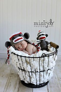 White, Red & Dark Gray Sock Monkey Earflap Hat with Matching Doll - Newborn Baby Boy or Girl Photography Photo Prop      From karlyskloset