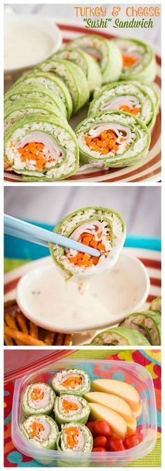 These easy sushi sandwiches made with turkey and cheese are quick to make, and your kids will LOVE them in their lunch boxes! (sponsored by Hillshire Farm) healthy lunch recipes Lunch Recipes, Cooking Recipes, Healthy Recipes, Easy Healthy Snacks, Easy Recipes, Dinner Recipes, Quick Snacks, Detox Recipes, Sandwich Recipes