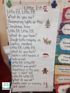 Little Elf poem - 5 senses/Brown Bear style. Link has printable poem too! Looooove this Christmas Poems, Christmas Program, Christmas Concert, Christmas Holidays, Xmas Poems, Christmas Crafts, Christmas Trivia, Green Christmas, Preschool Songs