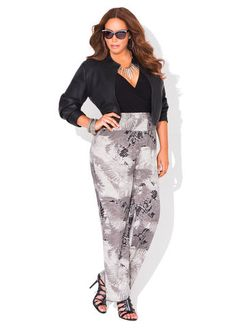 Ashley Stewart Solid Knot Front Top, Pleather Stitch Shrug and Printed Smocked Waist Pants