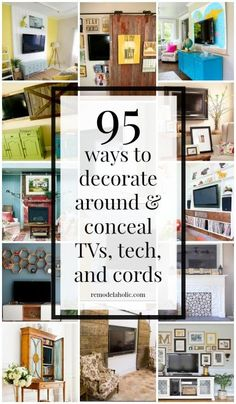 95 Ways to Hide or Decorate Around the TV, Electronics, and Cords - 95 Ways to Decorate Around or Hide-Disguise a Television, Electronics, and Cords Remodelaholic Decorating On A Budget, Interior Decorating, Interior Design, Decorating Around Tv, Decorating Games, Decorating Websites, Design Design, Design Ideas, Inexpensive Home Decor