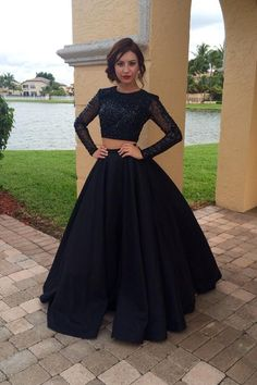 a211a0b5862 Long Sleeves Black Two Pieces Prom Dresses For Teens