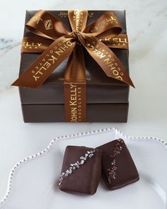 Truffle Fudge Bites Combo Gift Tower by John Kelly Chocolates at Neiman Marcus. Chocolate Covered Treats, Dark Chocolate Truffles, Salted Chocolate, Chocolate Caramels, Chocolate Box, Chocolates, Macaron Tower, Macaron Flavors, Conkers