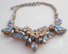 Schoffel Rhinestone Layered Aurora Borealis Clear Blue Necklace Signed #Schoffel #Statement