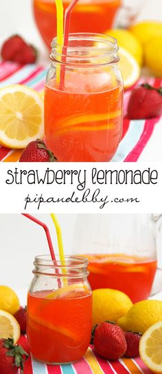 Strawberry Lemonade | Super refreshing spring or summer beverage! Kiddos love it!