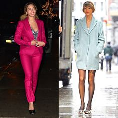 Both Beyoncé and Taylor Swift were spotted out in Manhattan last week in springlike tones, and the lighter palette is a nice antidote to the darker days of winter. Knowles's sleek fuchsia Gucci suit benefited from a light sheen, while Swift's coat glistened. - Photos: Getty Images