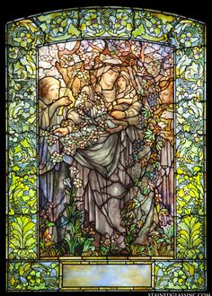 """Madonna of the Flowers"" Religious Stained Glass Window"